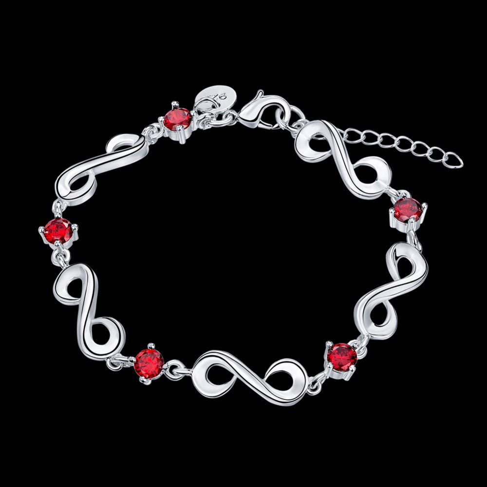 Ruby 925 Sterling Silver Plated Infinity Bangle Bracelet
