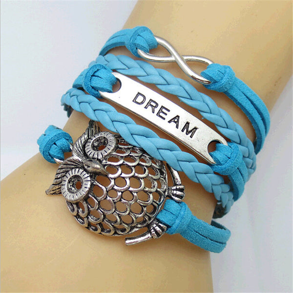 Dream Infinity Leather Wrap Bracelets with Owl Charm
