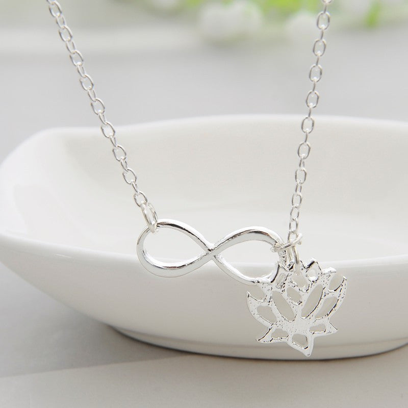 Lotus & Infinity Symbol Silver Tone Necklace
