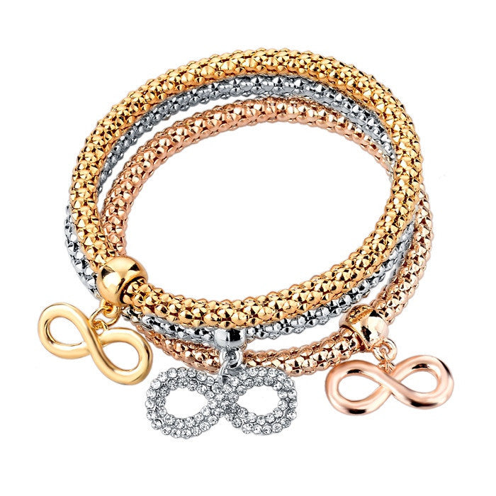 Infinity Bangle Bracelet Trio in 3 Colors