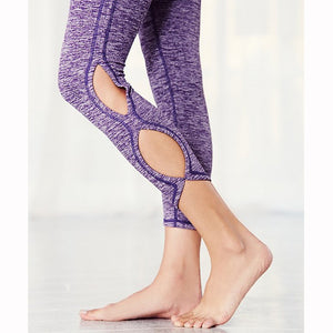 Infinity Symbol Cropped Leggings Yoga Leggings Yoga Pants made with polyester and cotton with an elastic waist in purple and white