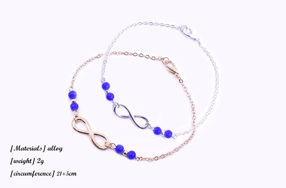 Beaded Infinity Ankle Bracelets