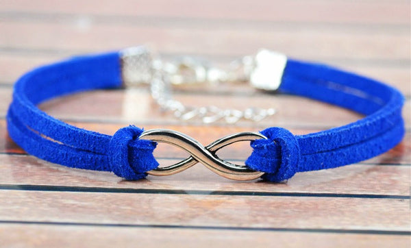 Suede Leather Bracelet with Silver Infinity Charm