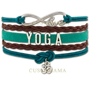 Teal & Brown Leather & Wax Cord Infinite Love Yoga OM Charm Bracelet