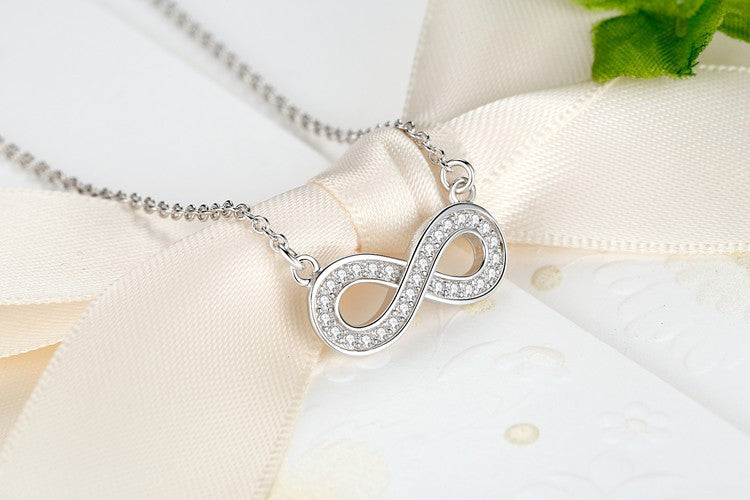 Beautiful 925 Sterling Silver Infinity Pendant Necklace with Micro Pave Crystals