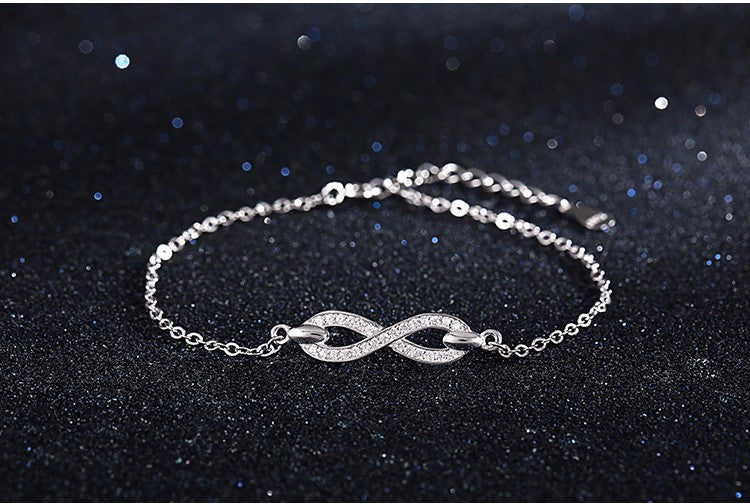 Luxurious 925 Sterling Silver & Cubic Zirconia Infinity Bracelet
