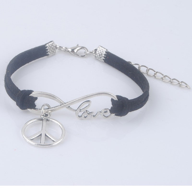 Infinite Love Peace & Music Simple Leather Wrap Infinity Symbol Bracelets