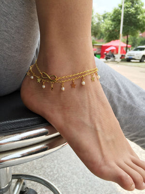 Double Layer Infinity Star Ankle Bracelets