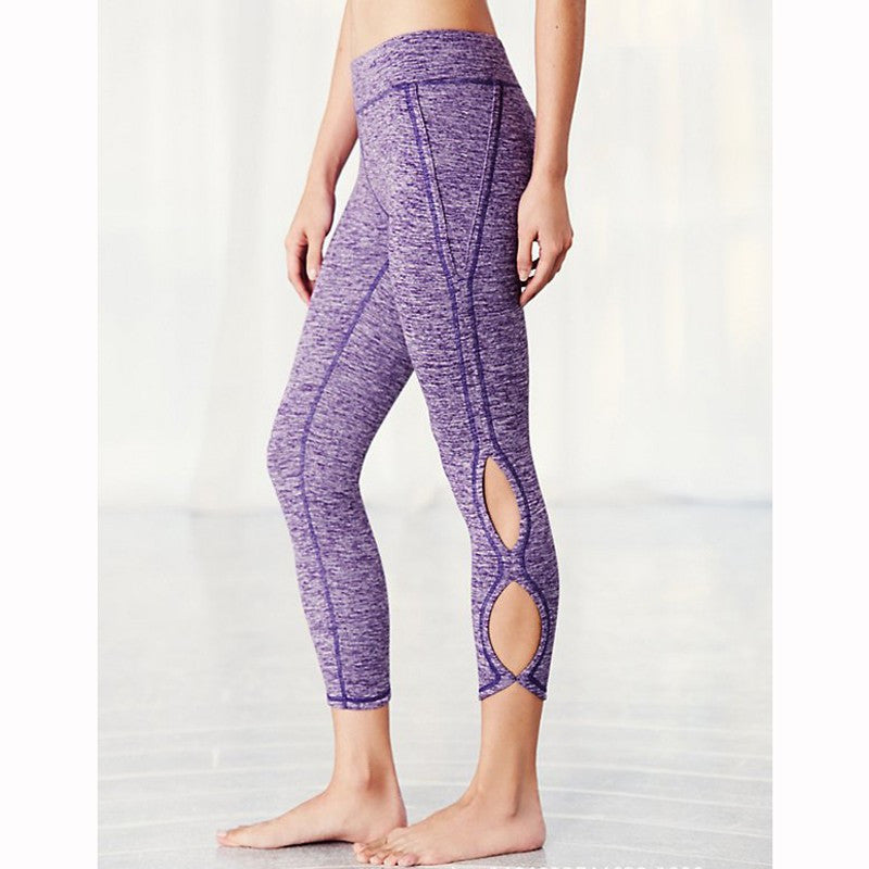 Ladies Yoga Infinity Symbol Cropped Leggings / Yoga Leggings / Pants - Purple Heather