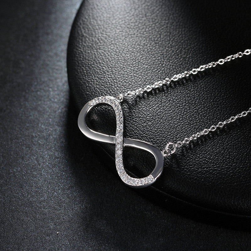 Brilliant Jewel Infinity Symbol Silver Plated Pendant Necklace Eco-friendly Casual and Formal Women