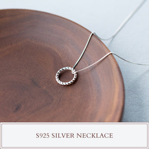 Twisted Infinity Circle Spiral Sterling Silver Pendant Necklace