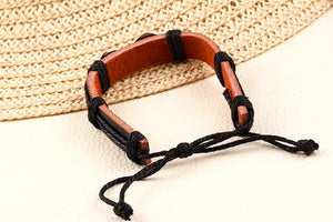 Black Multilayer Leather & Rope Infinity Wrist Cuffs for Men