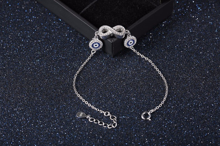 925 Stirling Silver Infinity Sign Bracelet With Evil Eye Charms