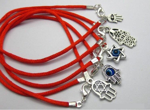 Red String Bracelet with Silver Tone Charms