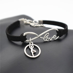 Leather Bracelet with Silver Tone Infinite Love & Yoga/Dance Charms