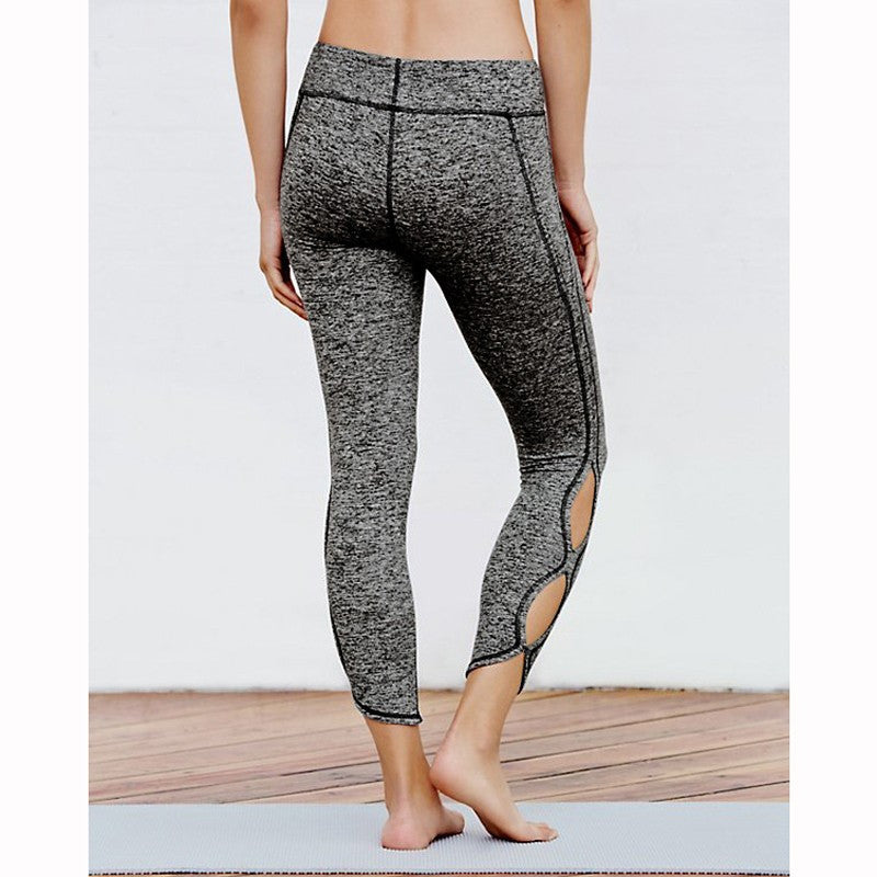 Infinity Symbol Cropped Leggings Yoga Leggings Yoga Pants made with polyester and cotton with an elastic waist in black and grey