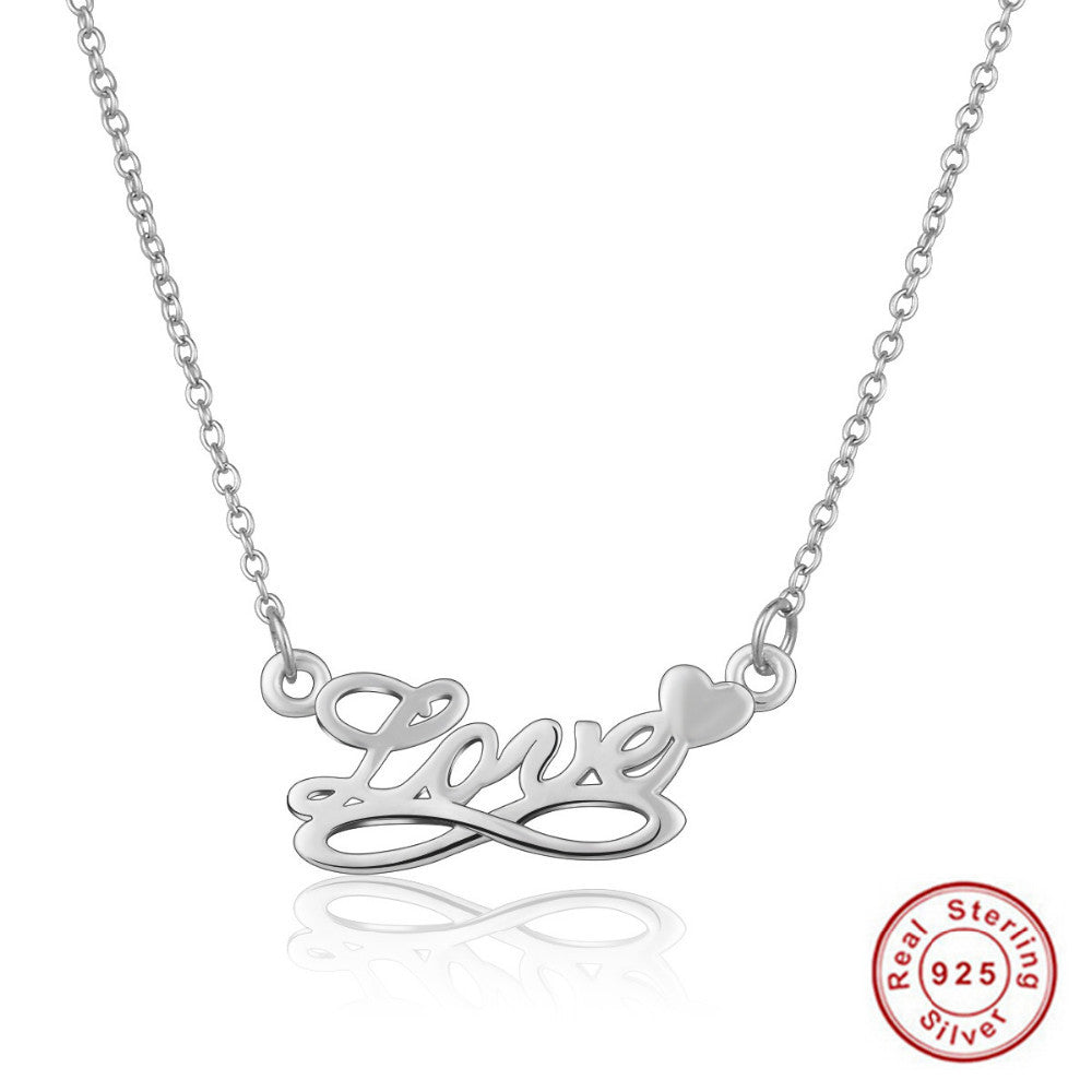 Authentic 925 Sterling Silver Infinity Symbol Love Necklace
