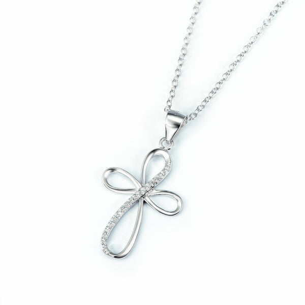 Double Infinity Cross Pendant Necklace with CZ Crystals