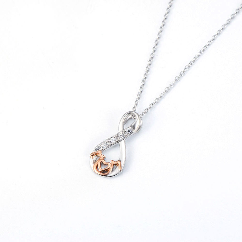 Sterling Silver Infinity Mom Pendant Necklace with Cubic Zirconia & 18K Rose Gold Accents