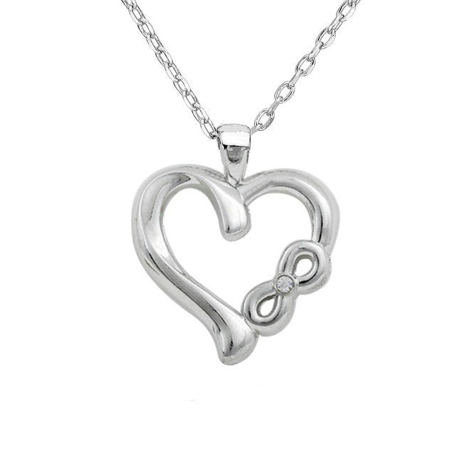 infinity heart necklace. silver plated infinity heart necklace t