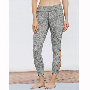 Infinity Symbol Cropped Leggings Yoga Leggings Yoga Pants made with polyester and cotton with an elastic waist in grey