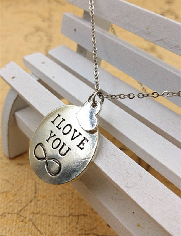 I Love You Silver Metallic Infinity Symbol Disc Pendant Necklace Casual and Formal Women