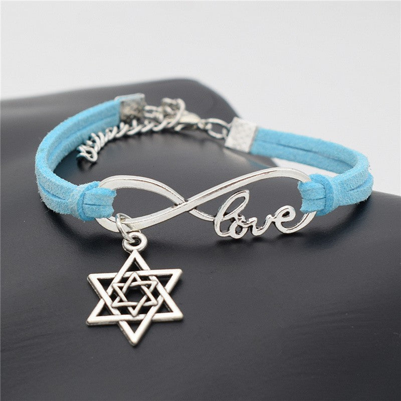 Silver Tone & Leather Infinite Love Bracelets with Star of David Charm