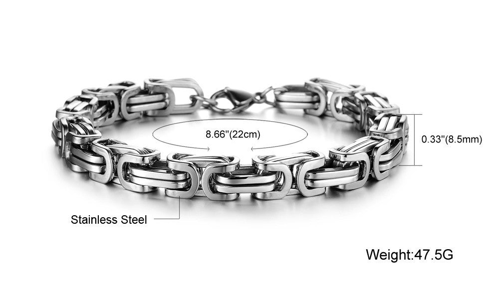 Chunky Infinity Box Style Stainless Steel Bracelet