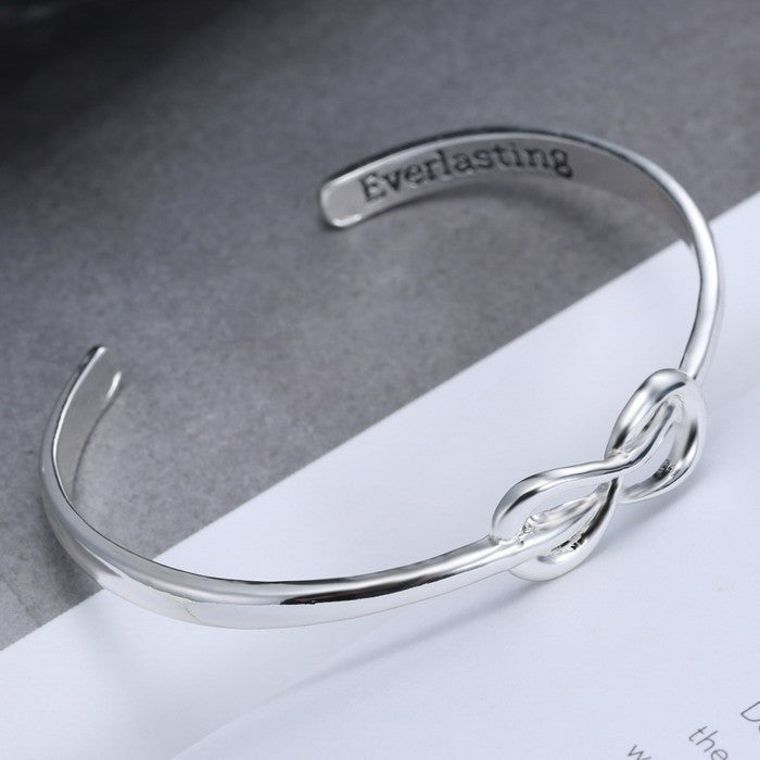 Engraved Everlasting Silver Infinity Open Cuff Bangle Bracelet