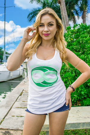 Ladies Infinite Soldier Logo Infinity Symbol Racerback Tank Top - White with Green Logo