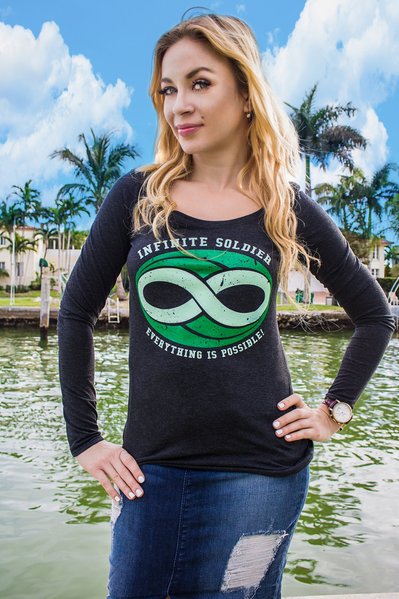 Ladies Infinite Soldier Logo Long Sleeve T-Shirt - Black with Green Print