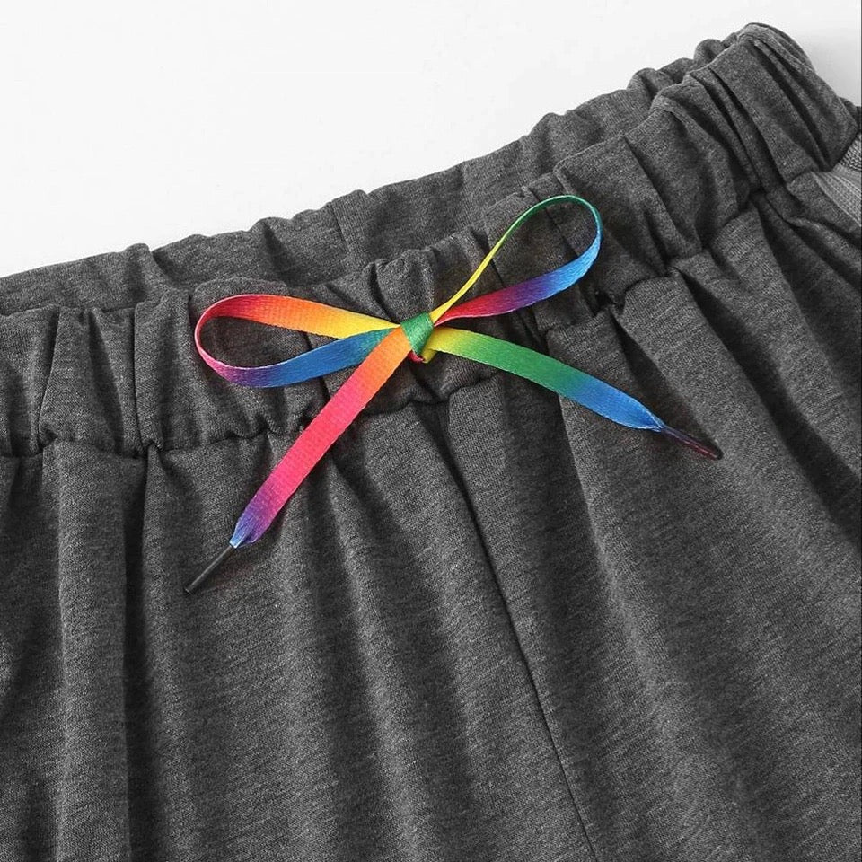 rainbow drawstring shorts