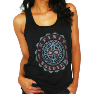 Ladies Infinity Emblem Black Racerback Tank Top
