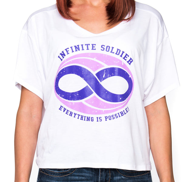 Ladies Infinite Soldier Logo Cropped Tee - White with Purple Logo