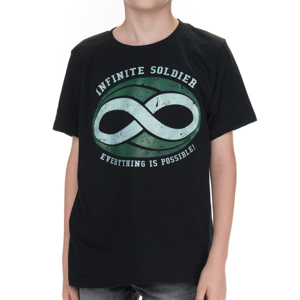 Boys Infinite Soldier Logo Short Sleeve Tee - Black with Green Logo