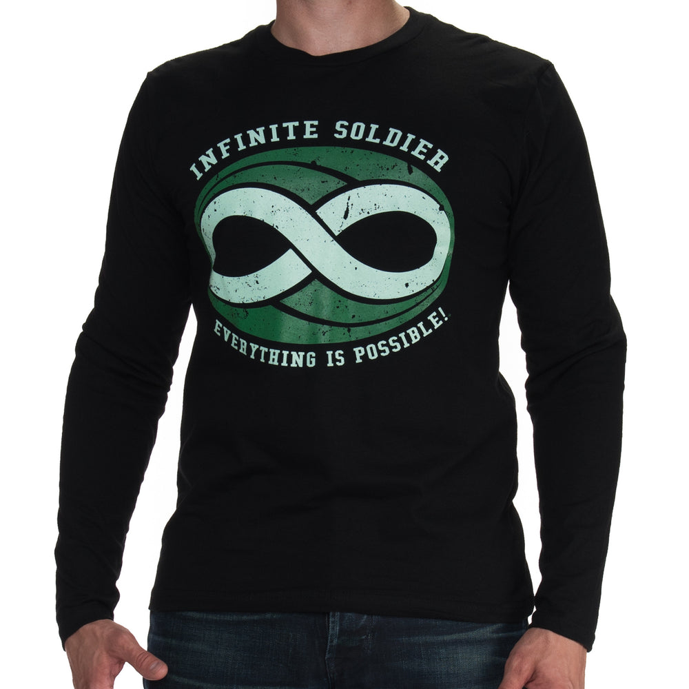 Men's Infinite Soldier Logo Long Sleeve Tee - Black with Green