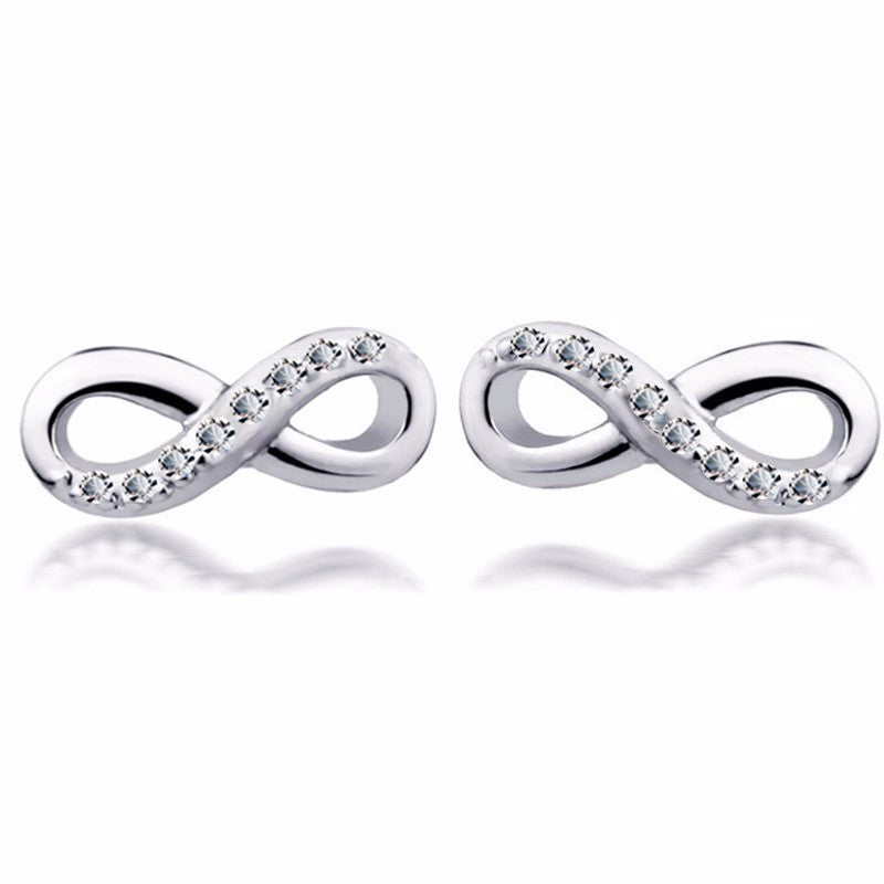 Ladies Tin Alloy Rhinestone Infinity Stud Earrings with Push Backs