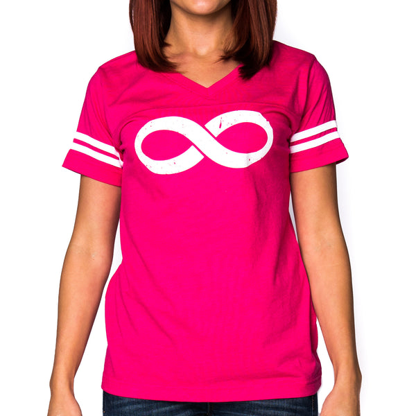 Ladies Infinity Jersey Short Sleeved Graphic T-Shirt - Hot Pink