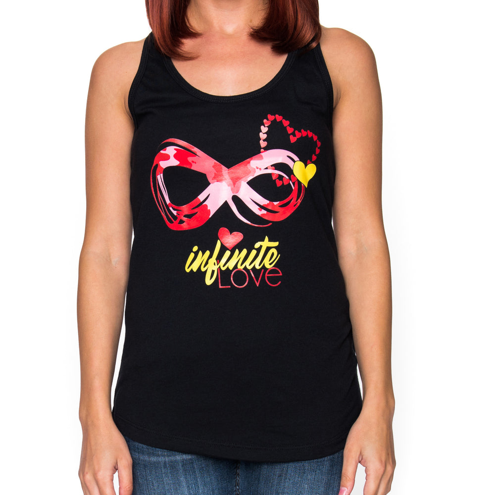 Ladies Infinite Love Black Racerback Tank Top
