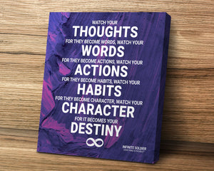Watch Your Thoughts, Watch Your Words mounted canvas art print