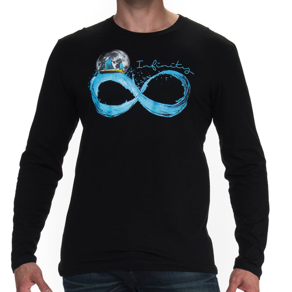 Men's Infinite Moon Black Long Sleeve T Shirt