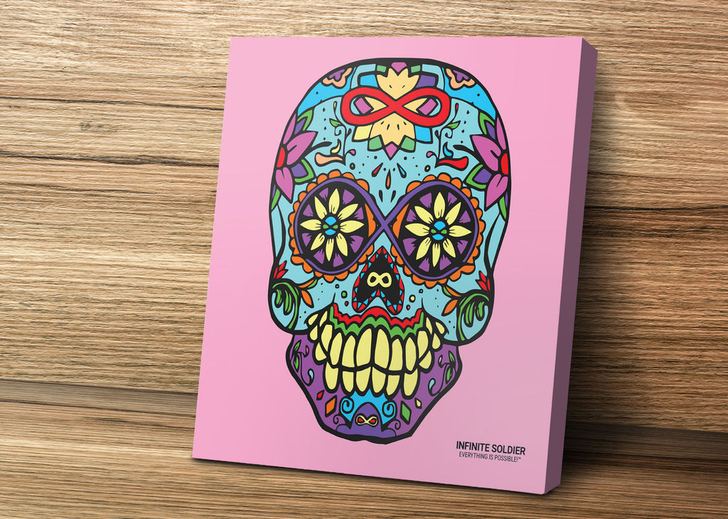 Infinity Struck Sugar Skull Mounted Canvas Print - Pink Square