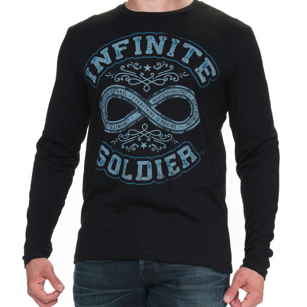 Path to Infinity Men's Long Sleeve T-Shirt with Blue Ink