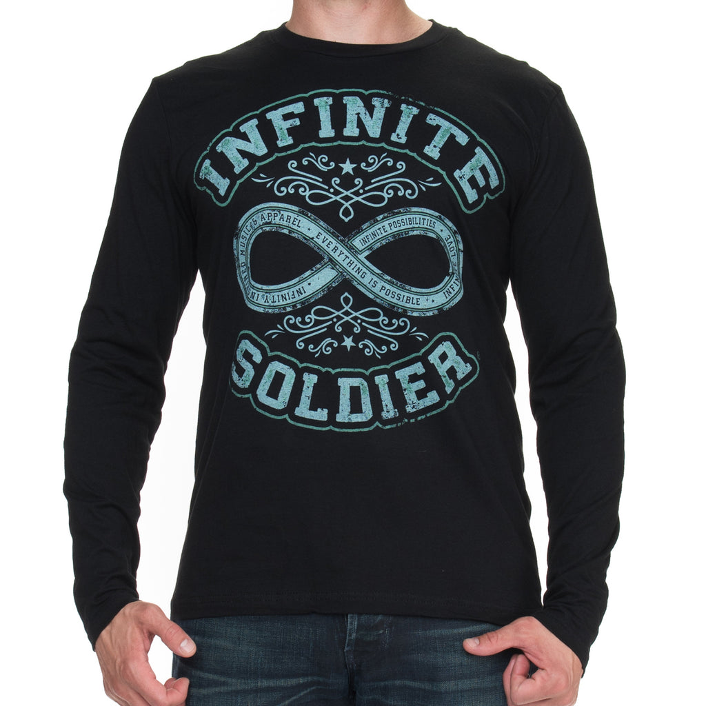 Path to Infinity Men's Long Sleeve Graphic T-Shirt with Green Ink