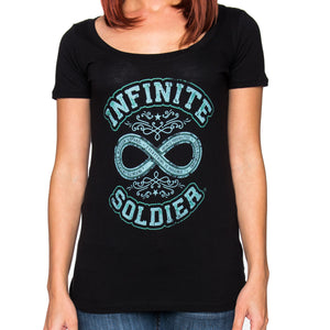 Ladies Scoop Neck Path to Infinity Graphic T-Shirt - Black with Green Print