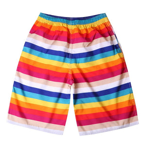 Men's Rainbow Striped Quick Dry Board Shorts
