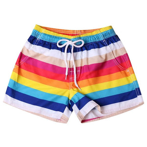 Women's Rainbow Striped Board Shorts