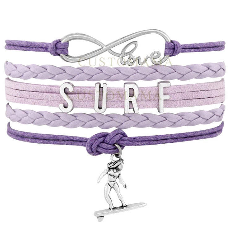 Infinite Love Surf Charm Wrap Bracelet