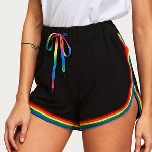 Ladies Casual Rainbow Print Shorts Elastic Waistband Rainbow Drawstrings