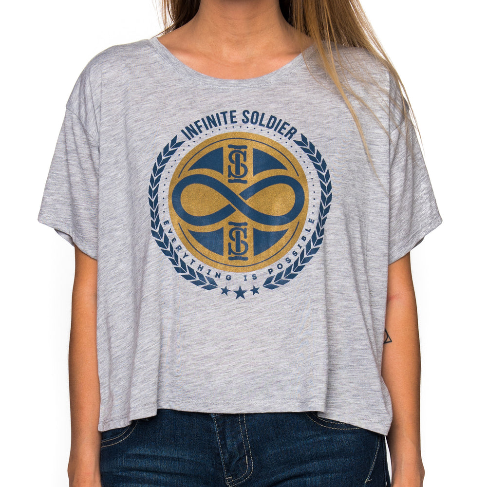 Infinity Stamp Ladies Heather Gray Cropped Tee